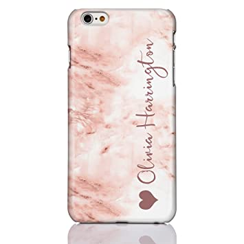 reputable site 61ac7 4ebe6 iCaseDesigner Personalised Marble and Glitter Phone Case for Apple iPhone  7+ / 8+ (Plus) - 20: Vertical Name with Heart on Pastel Coffee Marble