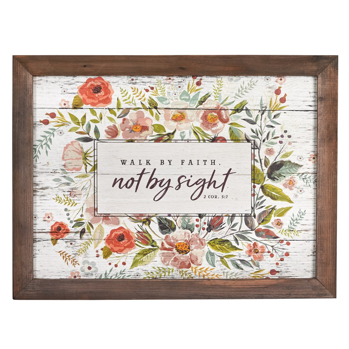 Christian at Gifts Wall Art Home Décor | Walk by Faith – 2 Corinthians 5:7 Bible Verse Wall Plaque | Rustic Floral, 15 x 20 Inches