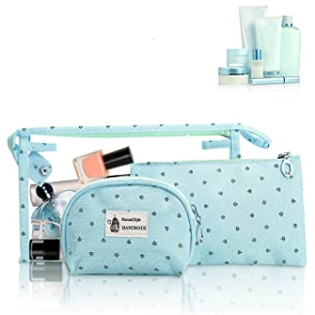 0b1f829d34a5 HOYOFO Portable Cosmetic Bags Set of 3 Different Sizes Makeup and Toiletry  Pouch Purse Bag for...