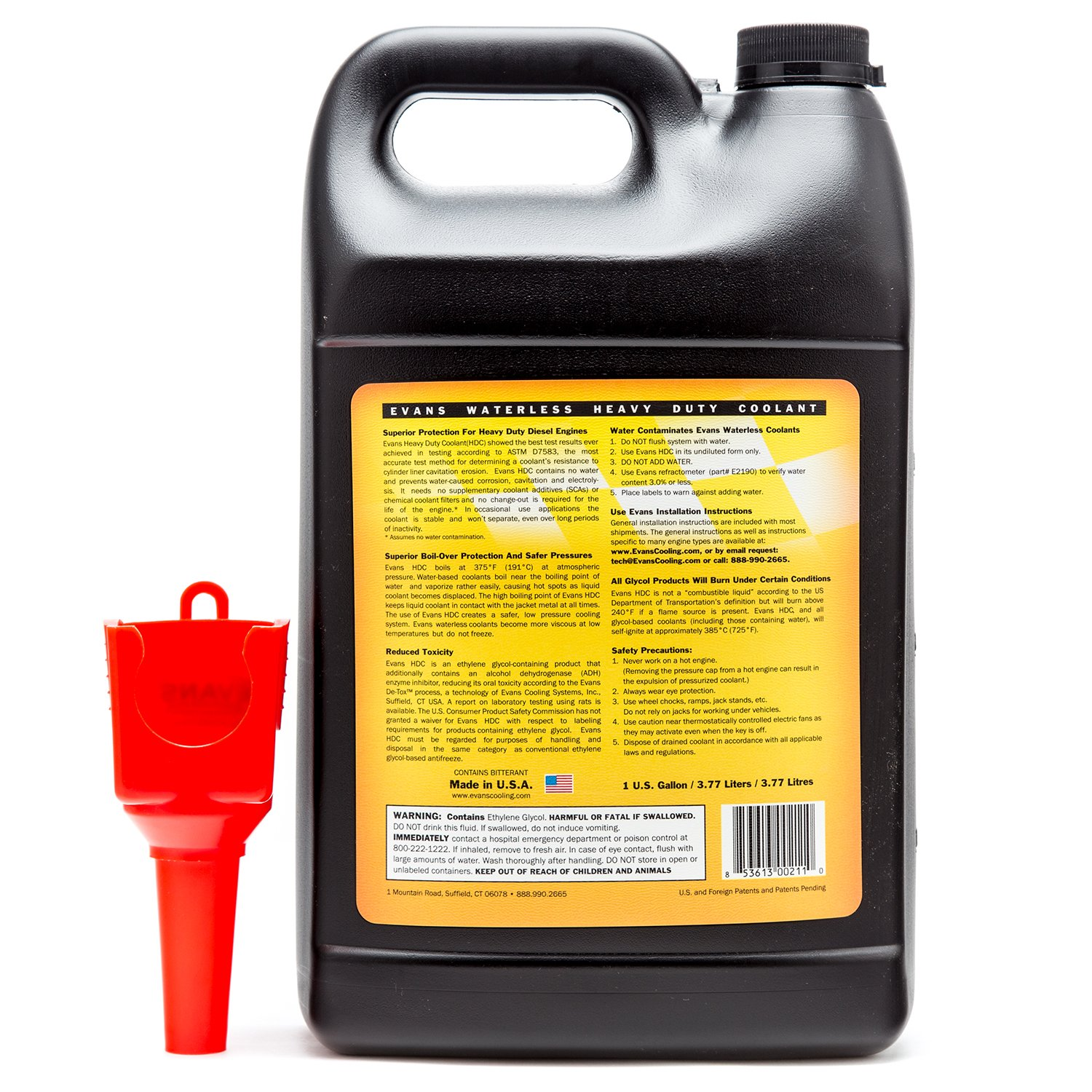Amazon.com: EVANS Cooling Systems EC61001 Heavy Duty Waterless Engine  Coolant with Funnel, 128 fl. oz.: Automotive