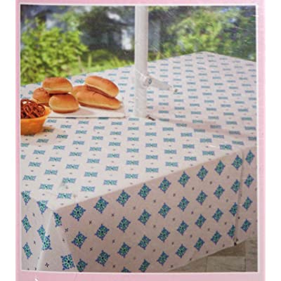 Ornate Blue & green diamond pattern on white Umbrella Tablecloth with zipper for pole 52 x 70 inch Vinyl with flannel backing : Patio Table Covers : Garden & Outdoor