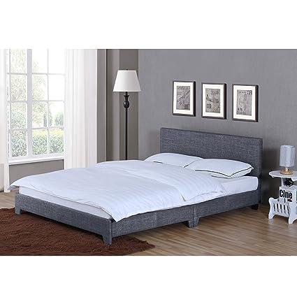 Home Victoria Double Bed, 4ft6 Bed Frame Upholstered Fabric Headboard  Bedroom Furniture, Dark Grey Linen