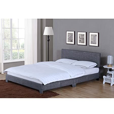 Astounding Home Victoria King Size Bed 5Ft Bed Frame Upholstered Fabric Headboard Bedroom Furniture Dark Grey Linen Download Free Architecture Designs Ferenbritishbridgeorg