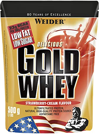 Weider Gold Whey Sabor Fresa - 500 gr. Concentrado de Proteina de Suero de la más alta calidad. Fácil absorción y digestión. Baja en grasas y ...
