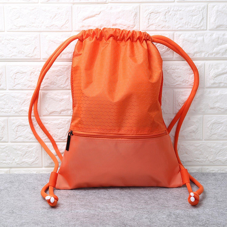 Esvan 防水ジムバック 大型巾着パックパック ジムバッグ サックパック スポーツ 旅行 バスケットボール ヨガ ランニング 9色 2サイズ B01LX95EVV Size L - Orange Size L  Orange