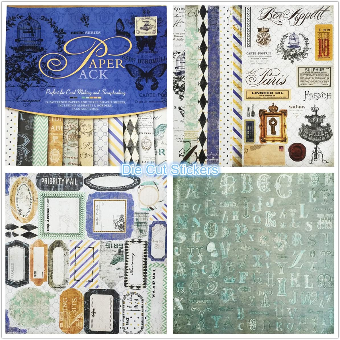 Journalling,crafts 12 Sheets Printable Paper INSTANT DOWNLOAD 12 x 12 inch,Adorable Vintage Pinup Patterns for Bookbinding,Scrap booking