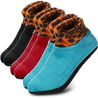 Geyoga 3 Pairs Women Winter Non-Slip Thermal Socks Winter Indoor Leopard Floor Socks Slipper Socks
