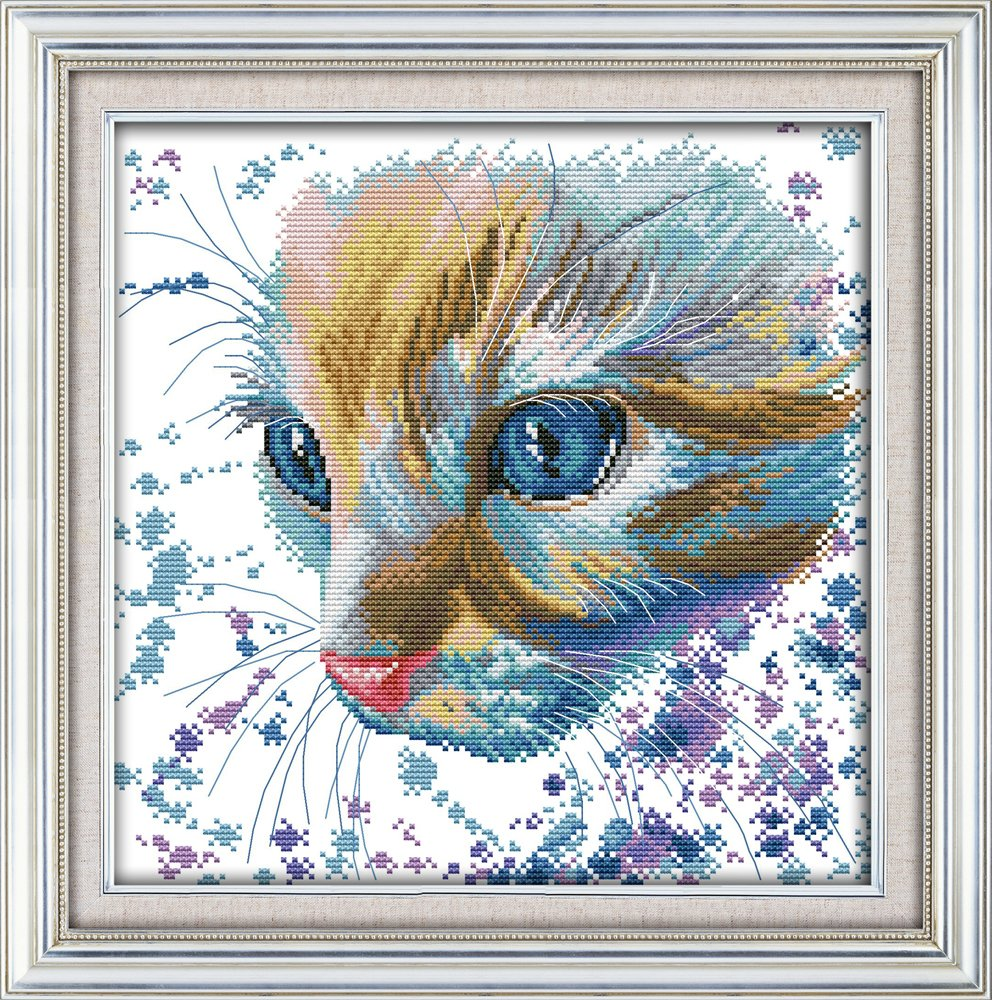 Cross Stitch Kits - Counted Cross Stitch Kit, Cross-Stitching Patterns Handsome Cat with 14CT White Fabric - DIY Art Crafts Sewing Embriodery Kit for Home Decor 10''x13'' Jsunday