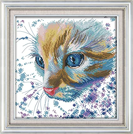 Watercolor Cat In The Sun Counted Printed On Fabric Dmc 14ct 11ct Cross Stitch Kitsembroidery Needlework Sets Home Decor Package Cross-stitch