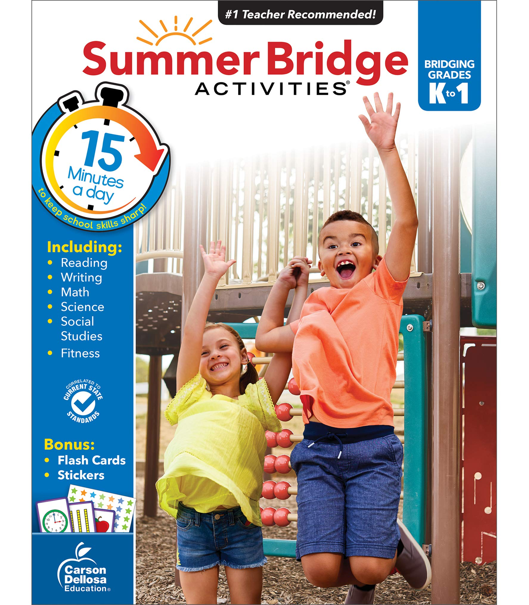 Summer Bridge Activities Workbook—Bridging Grades K to 1 in Just 15 Minutes a Day, Ages 5-6, Reading, Writing, Math, Science, Social Studies, Summer Learning Activity Book With Flash Cards (160 pgs)