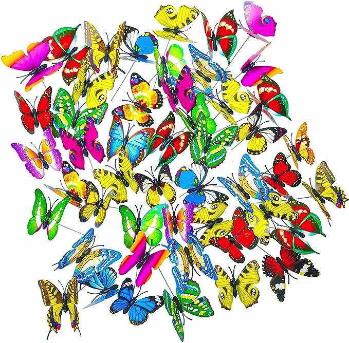 48 Stück Garten Flying Butterfly Stake Home Patio Blumentopf Rasen