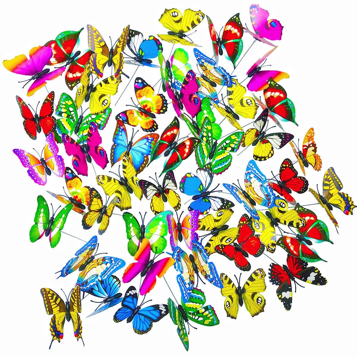 Antallcky 50pcs Butterfly Stakes Outdoor Yard Planter Flower Pot Bed Garden Decor Butterflies Christmas Decorations,Butterflies on Metal Wire Plant Stake,Fairy Garden Accessories Gardening Gifts