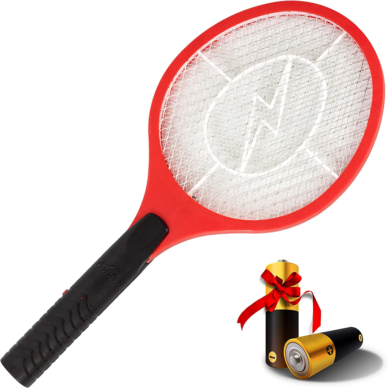AsisNai Electric Fly Swatter Bug Zapper Mosquito Killer - 3000 Volt Zap Racket, Will Even Kill Cockroaches. Made from Durable Materials for Indoors and Outdoors. Red and Black - Incl. 2 Batteries