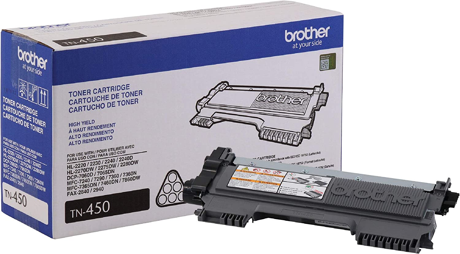 Brother Genuine High Yield Toner Cartridge, TN450, Replacement Black Toner, Page Yield Up To 2,600 Pages: Office Products