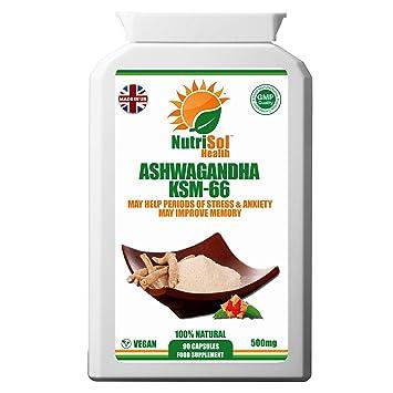 NutriSol Health Ashwagandha KSM-66 500mg 90 Vegans Capsules