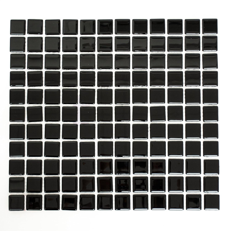 Mosaikfliesen Fliesen Mosaik K/üche Bad WC Wohnbereich Fliesenspiegel Quadrat Crystal Glas uni schwarz 4mm Neu#K773