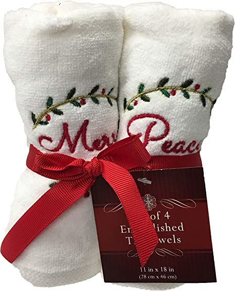 "Christmas Hand Towel Bathroom or Kitchen /""NOEL/"" Handmade NEW"