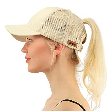 d38932c09 Ladies Baseball Cap,Ponycap Messy High Bun Ponytail Truckers Adjustable Mesh  Running Light Weight Sports Cap Hat for Women Female Trucker Baseball Mesh  Cap ...