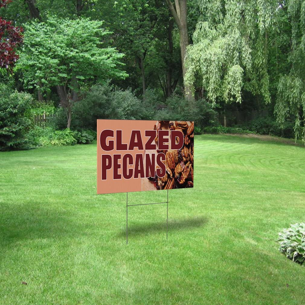 We Sell Pecans Black Red Corrugated Plastic Yard Sign //Free Stakes