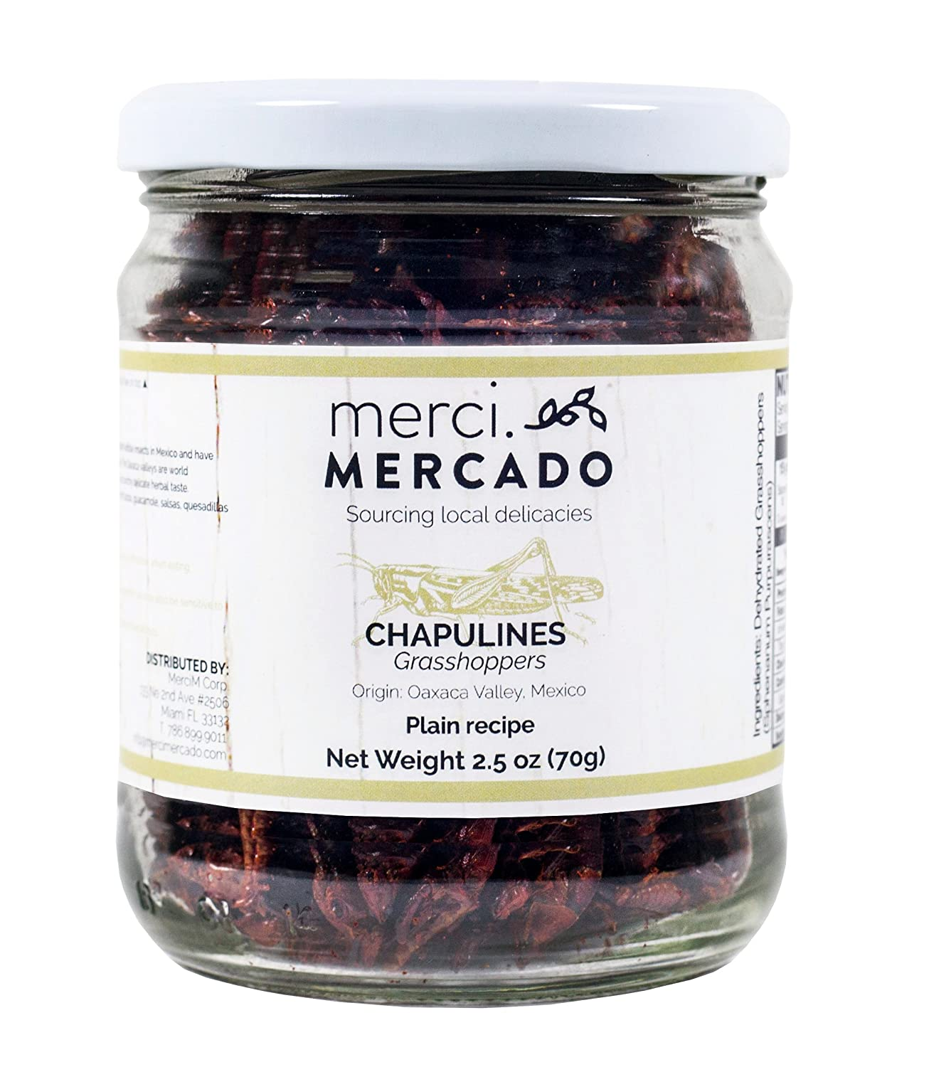 Merci Mercado Chapulines (grasshoppers) - Gourmet edible insects from Oaxaca Mexico (Plain recipe) ( 70g / 2.4oz ) HIGH PROTEIN CONTENT