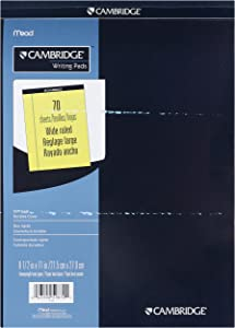 Mead Cambridge Stiff-Back Pad, Wide Ruled, 8.5 x 11 Inches, Canary, 70 Sheets per Pad, 12 Pads per Pack (59870)