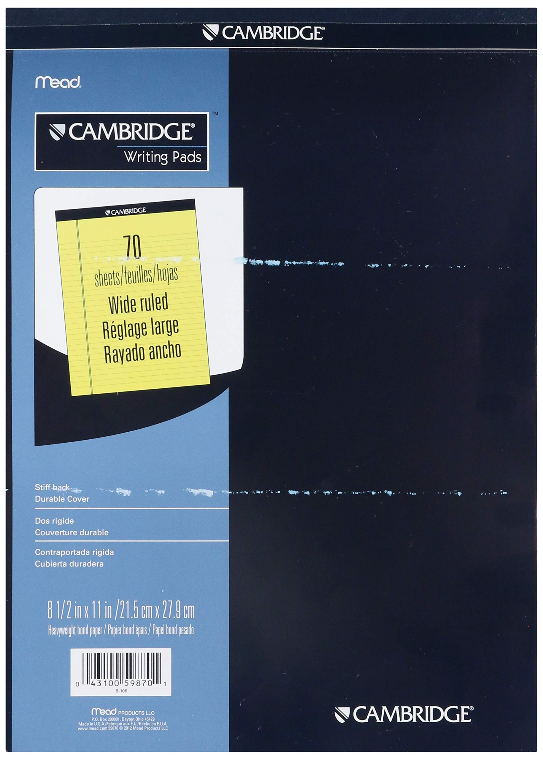 Mead Cambridge Stiff-Back Pad, Wide Ruled, 8.5 x 11 Inches, Canary, 70 Sheets per Pad, 12 Pads per Pack (59870) by Mead