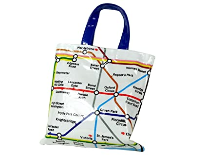 6e9fdb54c7 Small PVC Bag - Plastic Coated Canvas Bag with Underground Map and ...
