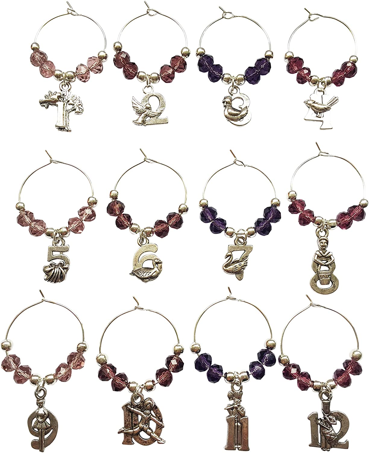 Mixture of Brown Beads with Velvet Gift Bag Libbys Market Place 12 Days of Christmas Wine Glass Charms