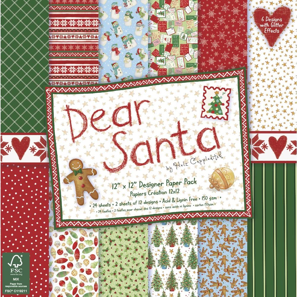 Rayher 60307000 Scrap Pack Dear Santa, FSC Mix Credit, 30,5 x 30,5 cm), 150 g/m2, SB de BTL 24bogen: Amazon.es: Hogar