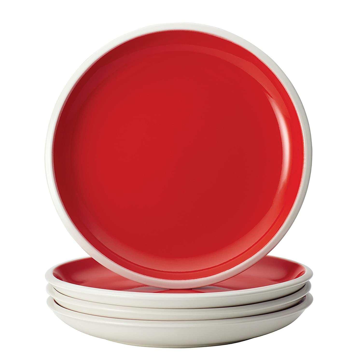 Rachael Ray Dinnerware Rise Collection 4-Piece Stoneware Salad Plate Set, Red 58726