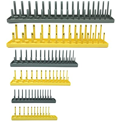 "Colsen Socket Organizers 6 Piece Socket Tray Set | Metric & SAE Deep and Shallow Socket Organizers | Holds 80 SAE & 90 Metric Sockets | 1/4"" Drive, 3/8"" Drive, and 1/2"" Drive(6PCS SET, Yellow): Home Improvement"