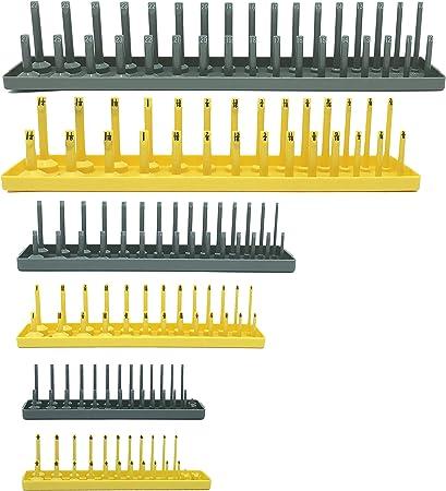 "Hansen 3//8/"" Socket Tray Organizer Holder Metric 3 Row MM Shallow Deep Yellow"