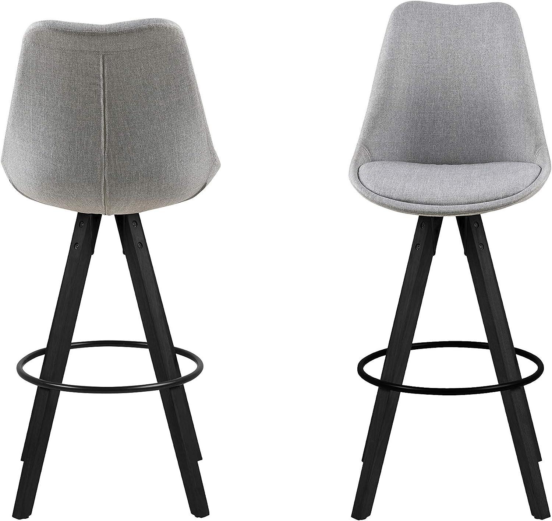 Eine Marke von Amazon - Movian Arendsee - Set mit 2 Barhockern, 55 x 48,5 x 111,5cm (L x B x H), Weißer Kunststoff/ weißes PU-Leder Hellgrauer Stoff/Schwarze Beine