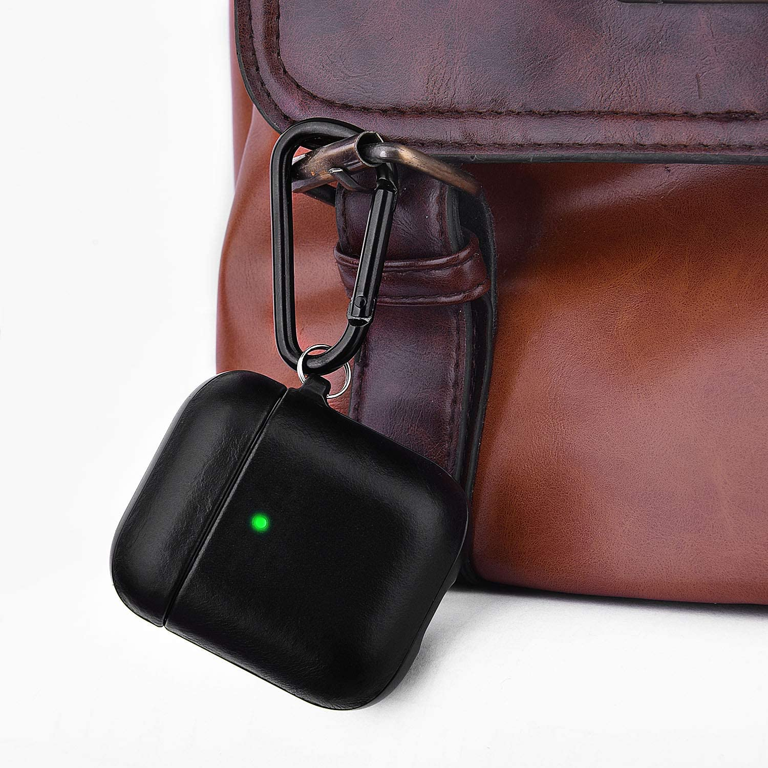 Front LED Visible V-MORO Compatible with Airpods Case Genuine Leather Case for Airpods 2 /& 1 Protective Cover Skin Brown