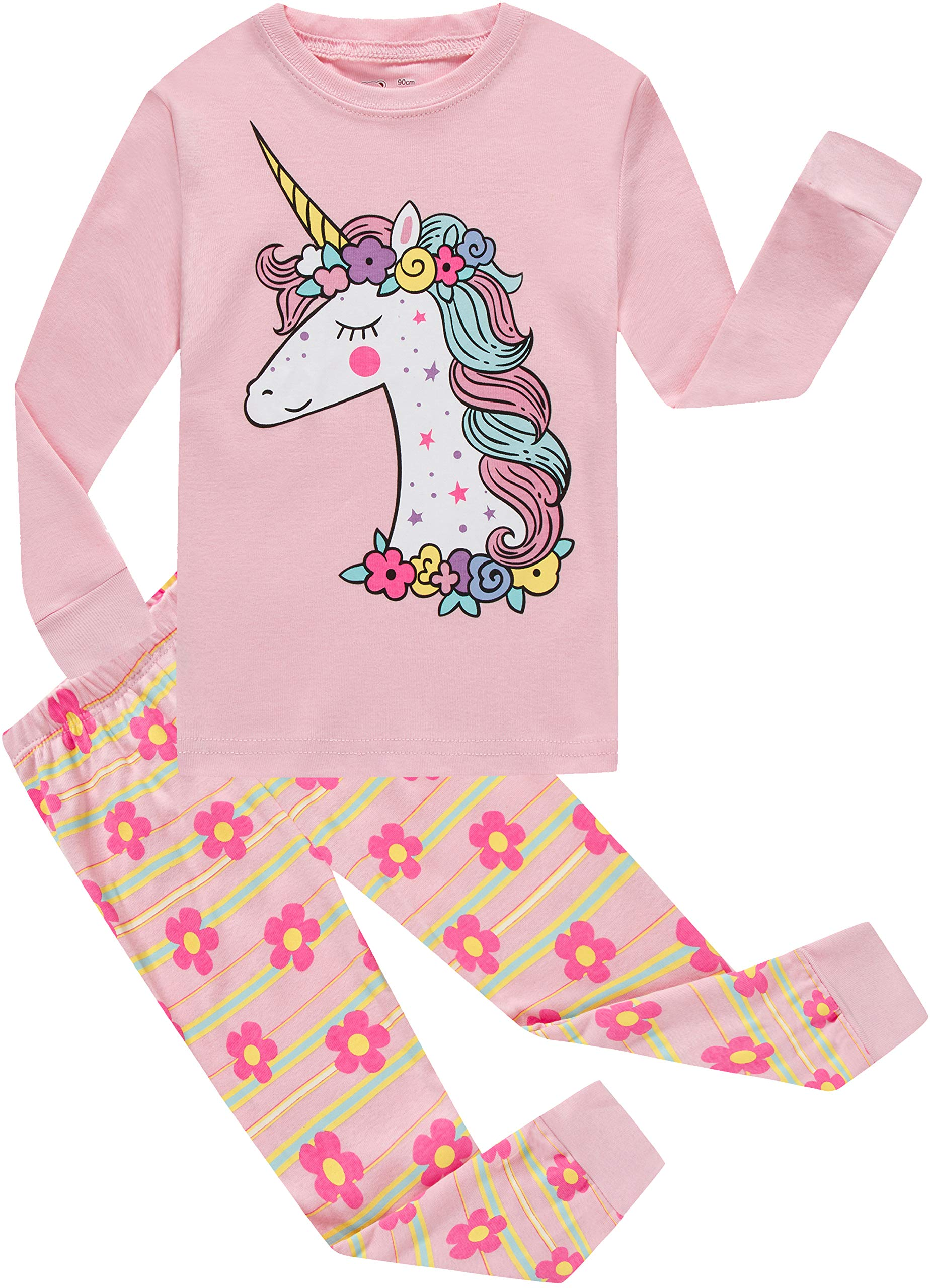 Little Girls Pajamas Baby Children Horse Pyjamas 100% Cotton Pink Toddler Sleepwear Size 2