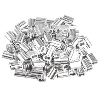100 piezas de 2,5 mm cuerda de alambre doble agujeros de aluminio mangas Clips Crimping Loops tono plata