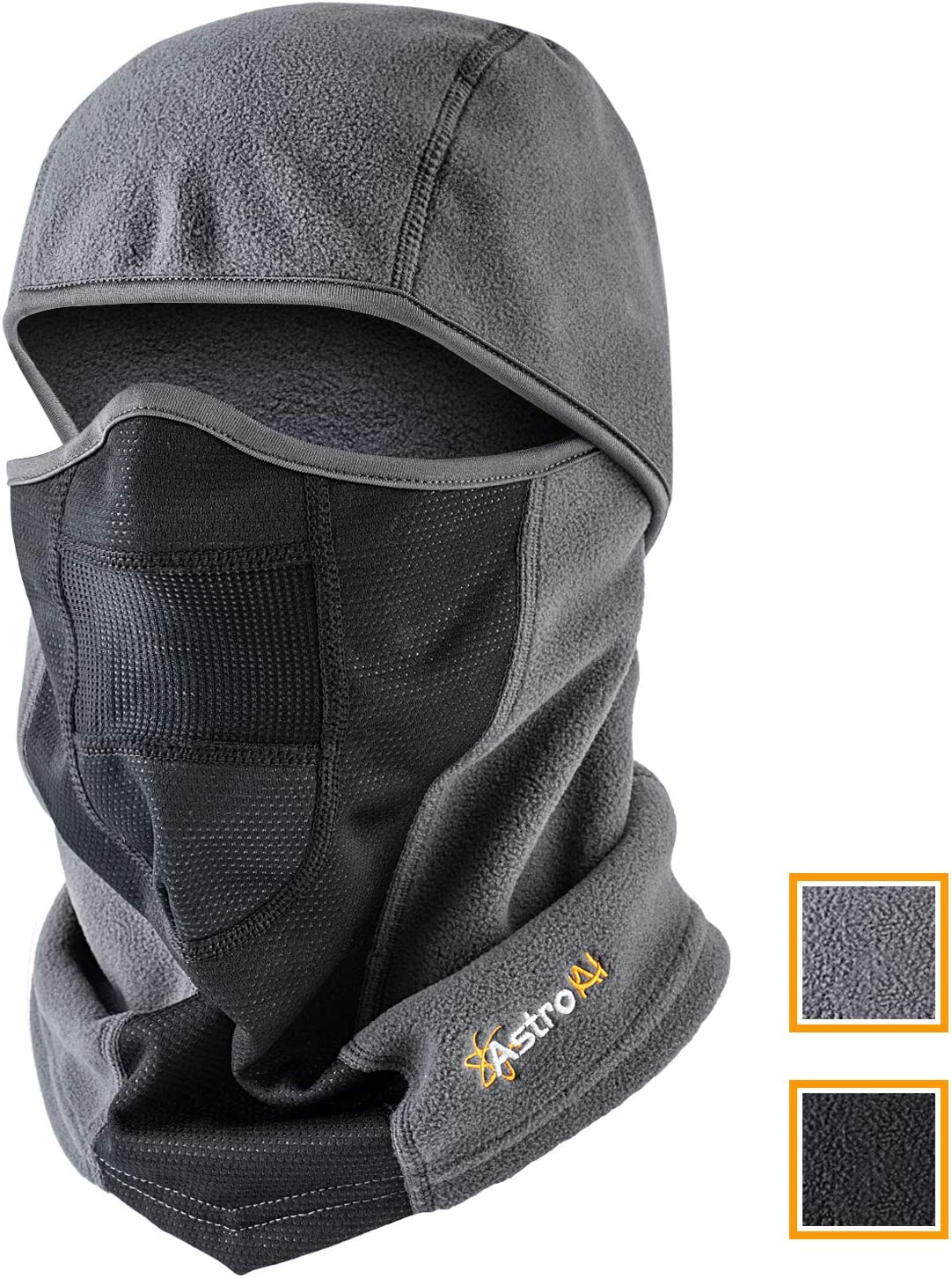 AstroAI Ski Mask Winter Balaclava Windproof Breathable Face Mask for Cold Weather (Superfine Polar Fleece, Grey)