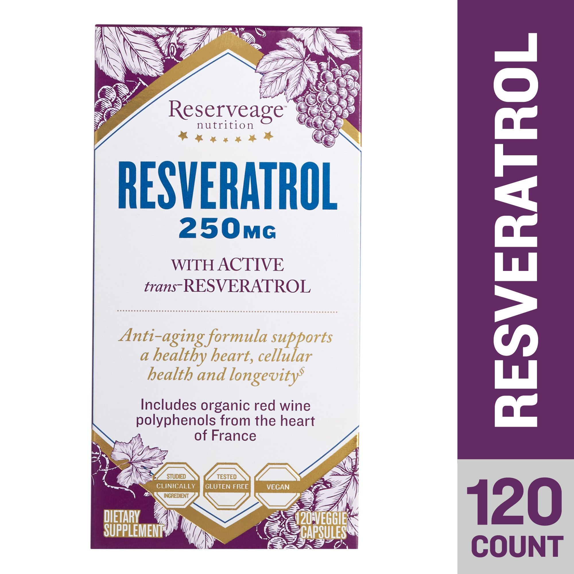 Reserveage - Resveratrol 250mg, Antioxidant Support for a Healthy Heart and Age Defying, Youthful Looking Skin with Organic Red Grapes and Quercetin, Gluten Free, Vegan, 120 Capsules
