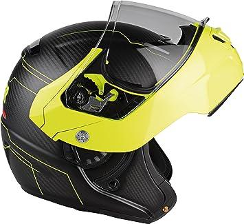 Lazer MLE041020FD1S Monaco Evo Droid Pure Carbon Casco Moto Modular, Negro Carbon Matt/Amarillo