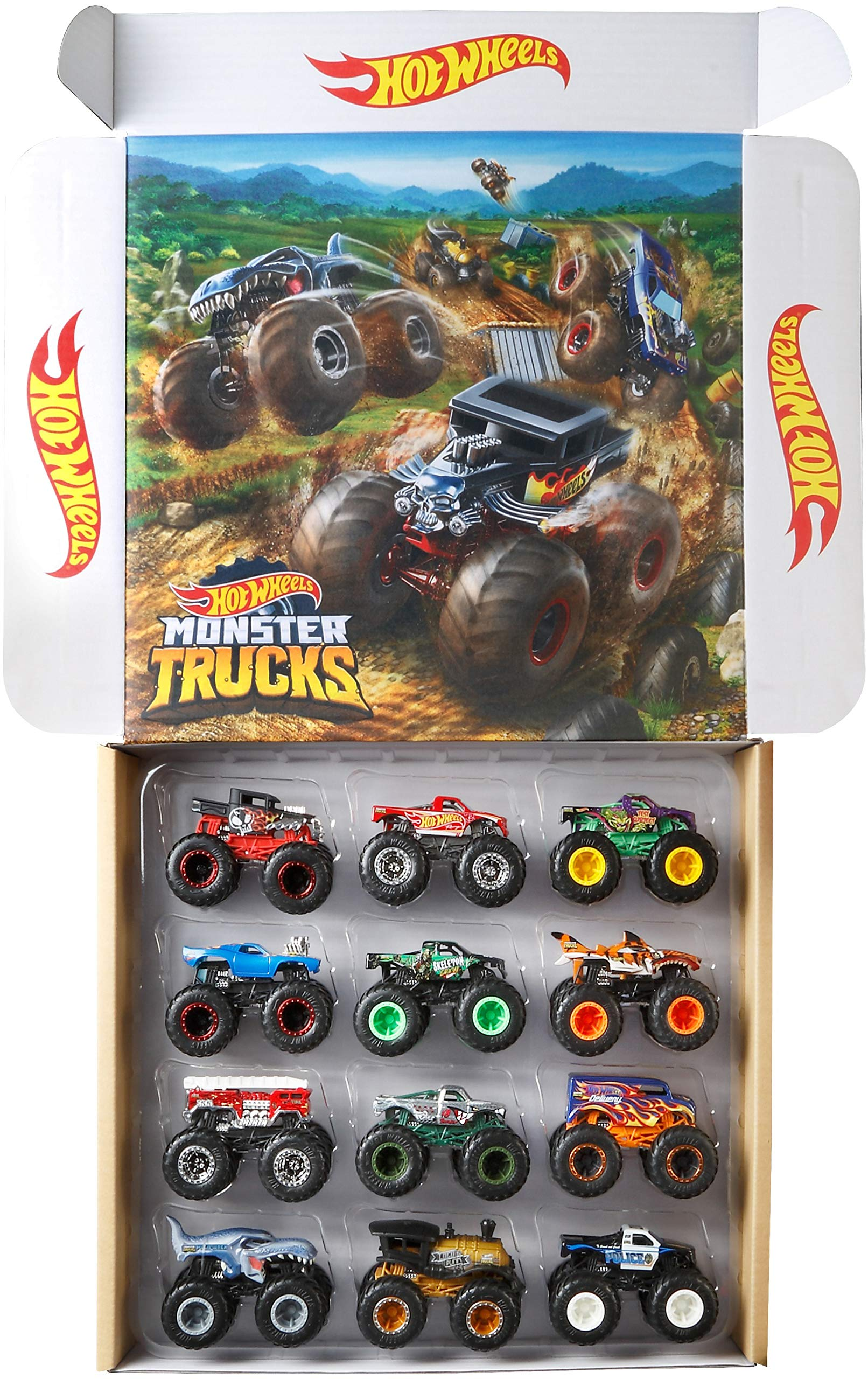 Hot Wheels Monster Trucks Ultimate Chaos 12 Pack, 1: 64 Vehicles [Amazon Exclusive]