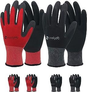 COOLJOB Gardening Gloves for Men, 6 Pairs Breathable Rubber Coated Garden Gloves, Work Gloves for Men, Men's Medium Size Fits Most, Black & Red (Half Dozen M)