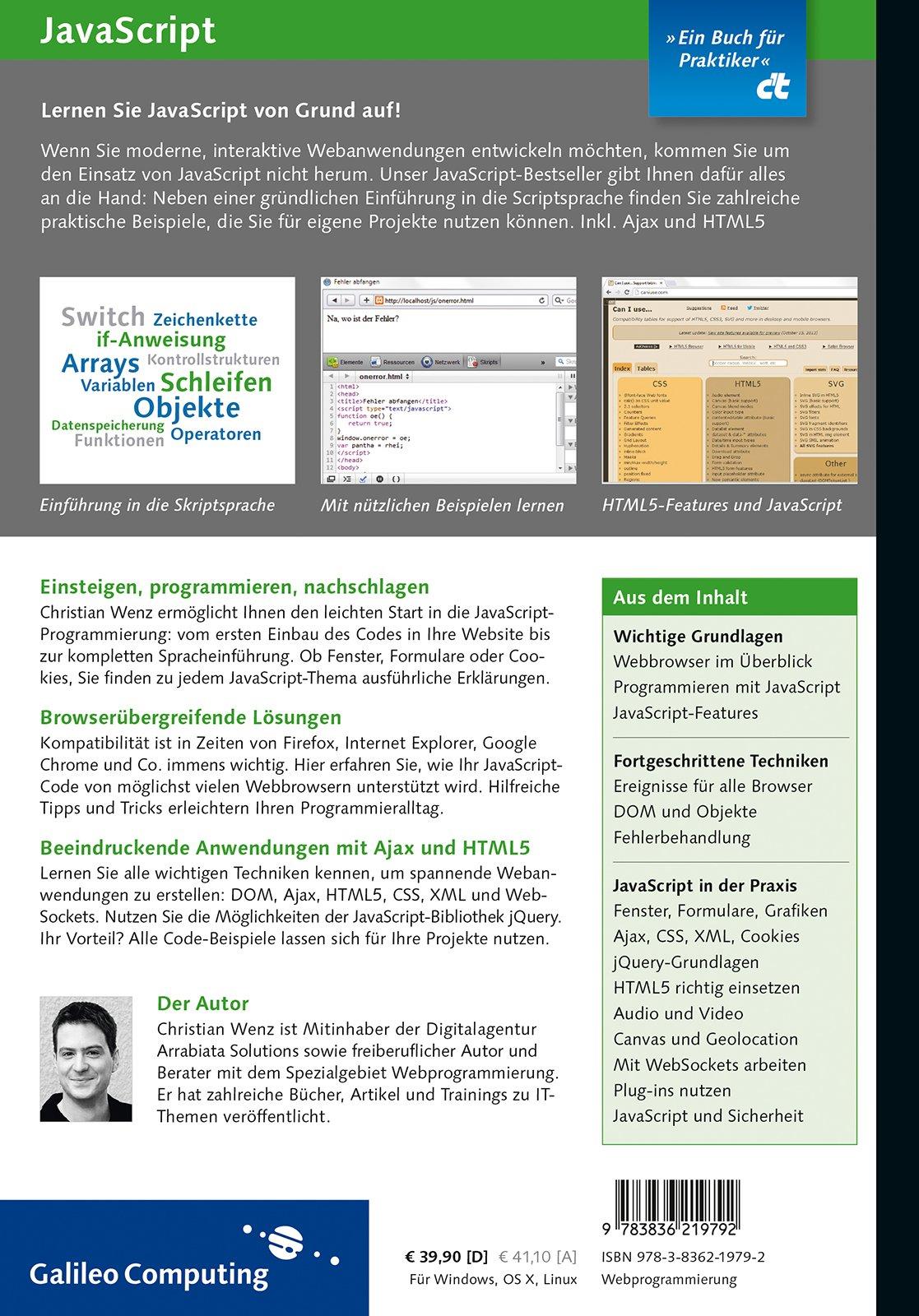 javascript grundlagen programmierung praxis inkl html5 javascript frameworks jquery oop galileo computing amazonde christian wenz bcher - Jquery Beispiele
