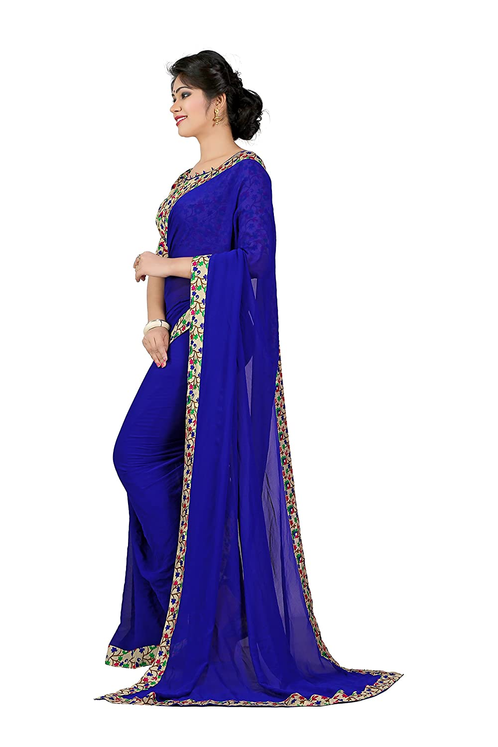 Berry Blue Georgette Saree with Blouse Piece