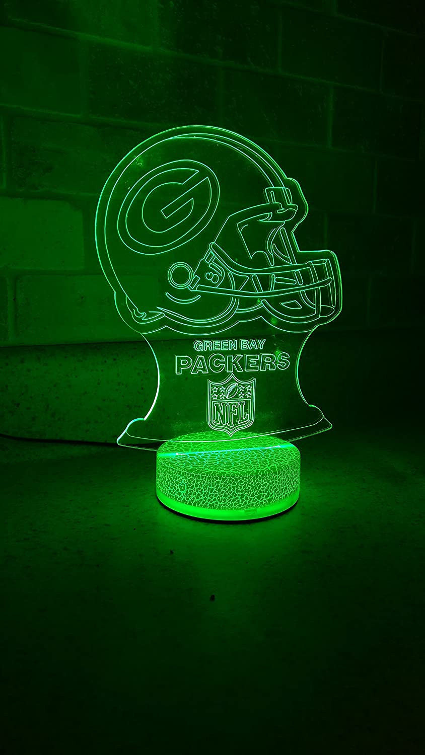 Green Bay Football Team 3D Night Light Color Changing Illusion Lamp for Children Kids NFL Sport Fan Gift Christmas Birthday Best Gifts