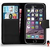 Apple iPhone 6 Premium Leather Wallet Flip Hülle Tasche + Displayschutzfolie & Poliertuch VON SHUKAN, (SCHWARZ)