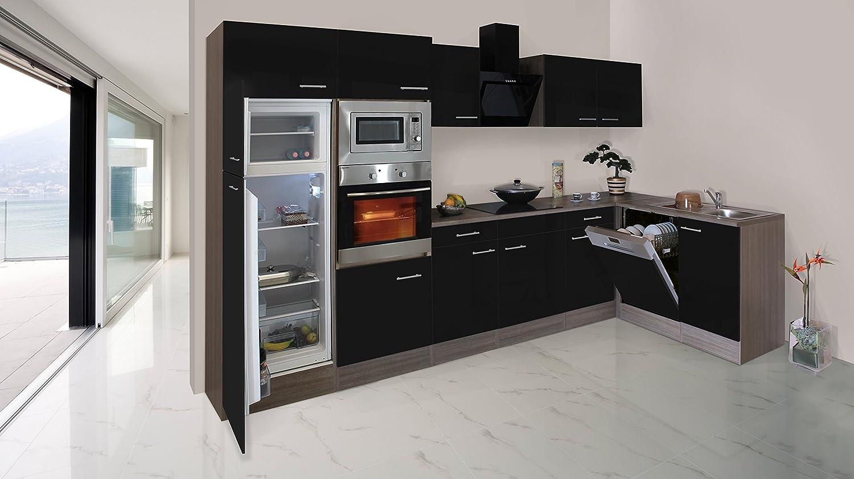 respekta Economy L-Form Winkel Küche Küchenzeile Eiche York Schwarz ...
