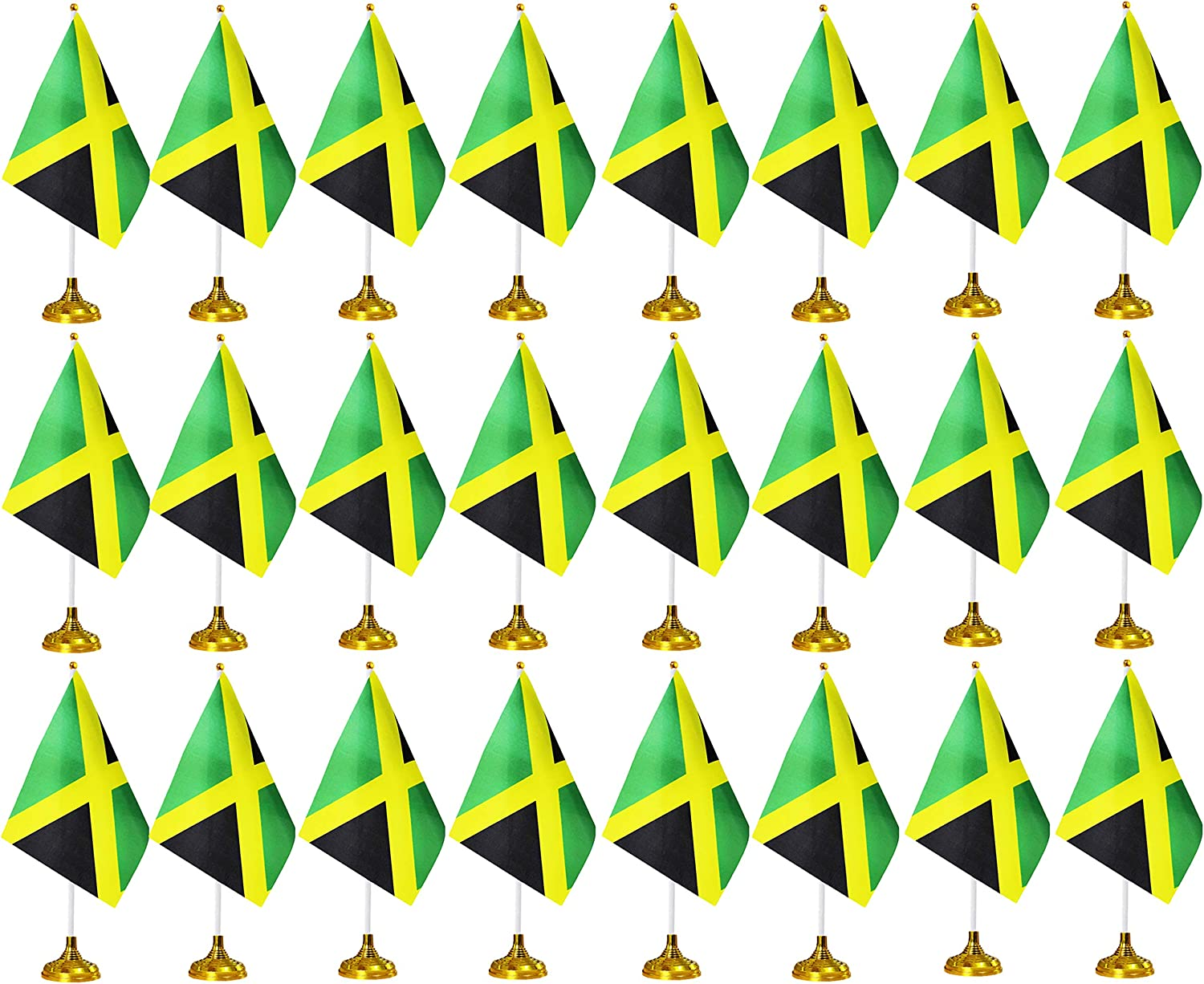 24 Pieces Jamaica Flags Table Flags on Stand with Stand Base,Small Mini Jamaican Flags Office Table Flags Set,Jamaicans Flags Desk Theme Party Decoration,Home Desk Decoration,Festival Events Celebrati