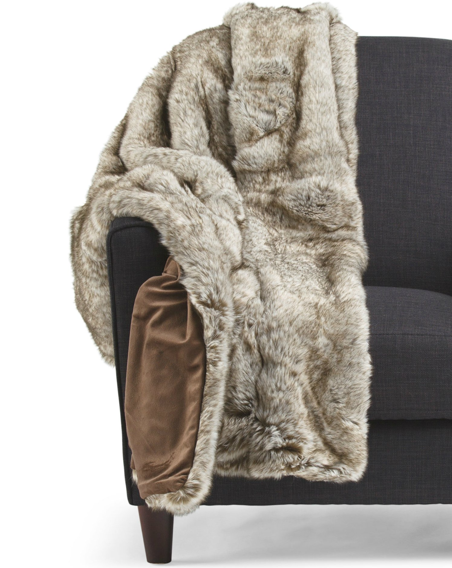 Tahari Mink Faux Fur Throw Luxury Silky Soft Blanket in Tan, Cream or White (Taupe)