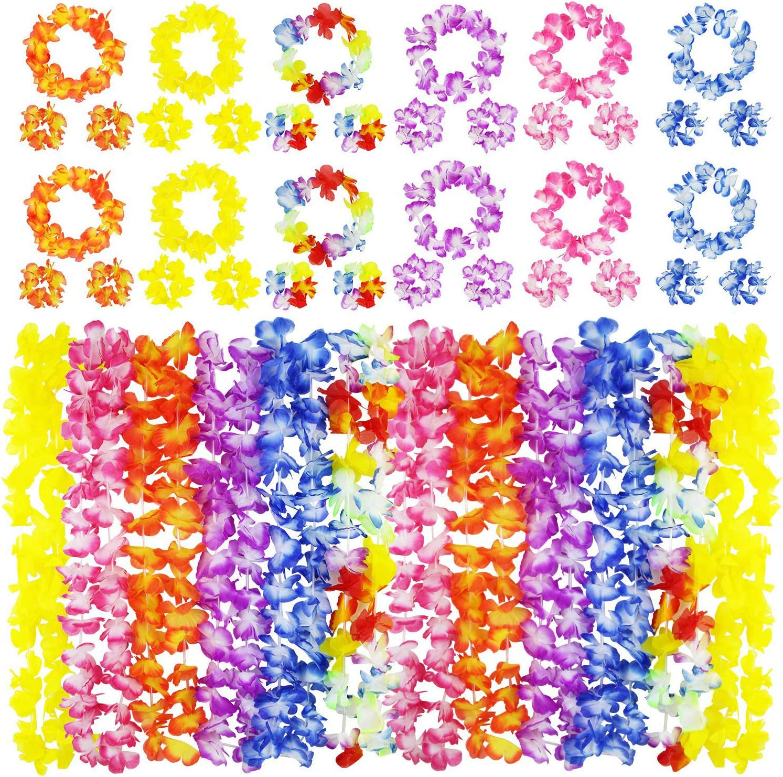 40pcs Hawaiian Leis Necklace Tropical Hawaii Flower Wreath Party  Beach Decor