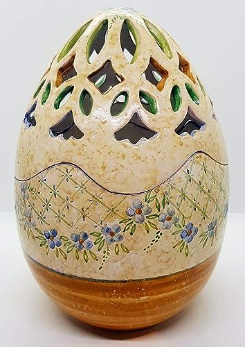 Uova Di Pasqua Ceramica.Uovo Contenitore Traforato Porta Cioccolatini Porta Gioielli